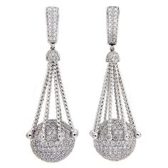 Diamond Pave Gold Ball Earrings | From a unique collection of vintage clip-on earrings at https://www.1stdibs.com/jewelry/earrings/clip-on-earrings/