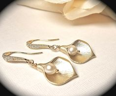Calla Lily Earrings - Fresh water Pearls -14k Gold over Sterling Cubic Zirconia ear wires - High quality - Top seller - Bridal jewelry -