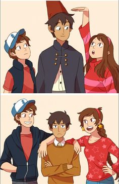 Over the garden wall X gravity falls. Dipper and mabel and wirt before and after.