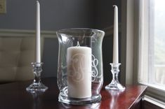 Unity Candle Holder and Taper Candle Holders - Wedding - Vine Monogram - 3 Piece Set on Etsy, $45.00