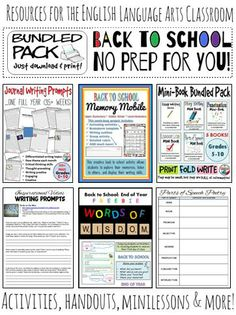 This bundled pack includes a variety of activities that would be helpful to start the year off right in any English classroom, a variety of resources that can be used throughout the year, and resources that can be used over and over again with your studen Back To School Activities, School Resources, Writing Activities, Kids Writing, Education English, Teaching English, Teaching Tools, Teaching Resources, Teaching Ideas