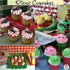 picnic cupcakes - watermelon, checkers w/ants, burgers - cute/funny