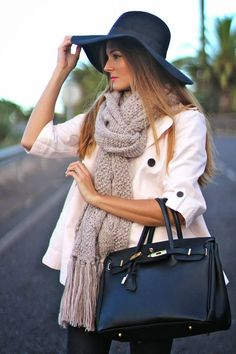 #Pink Mind Women fashion style clothing outfit handbag scarf knitted hat black white coat casual spring