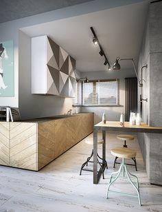 razoo-architekci Interior Design Kitchen, Modern Interior Design, Kitchen Decor, Small House Living, Small Space Design, Contemporary Bathrooms, Cuisines Design, Küchen Design, Home Kitchens