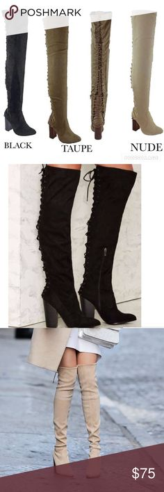 LAST SIZES Lace Up Over The Knee Thigh High Suede ⛄️Upgrade your simple boots for a subtle and flirty new look!⛄️ Brand New in Box ⛄️ Available in BLACK and TAUPE⛄️All vegan materials ⛄️ 3.25 inch heel ⛄️ Boot is 22 inches tall/25.25 inches tall including the heel ⛄️🔴Limited Quantities 🔴 Feel free to ask questions! Shoes Over the Knee Boots