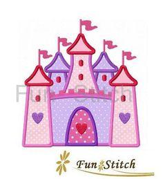 Princess castle applique machine embroidery design by FunStitch, $4.00