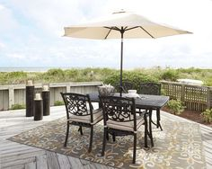 Burnella Beige/Brown Dining Set with Umbrella & 4 Chairs