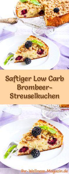 Rezept für Low Carb Brombeer-Streuselkuchen - kohlenhydratarm, kalorienreduziert, ohne Zucker und Getreidemehl #lowcarb #kuchen #backen