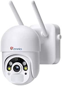 """The wireless security camera features with the intelligent 355° Pan 95°Tilt and 3X digital zoom (no optical zoom), allows you to watch every angle never miss details. You can remotely control the ptz camera to view what is happening around your home via the """"CTRONICS"""" app on your mobile phone. 【100% Wire-Free & Battery Powered Security Camera】: The outdoor security camera has a built-in 14400mAh high-capacity rechargeable battery, which providing 3-5 month working time after fully charging. Wireless Security Camera System, Wireless Camera, Ip Kamera Outdoor, Ptz Camera, Polaroid Camera, Camera Logo, Camera Icon, Mobile App, Dome Kamera"""