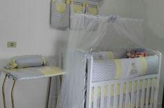 Kit de Berço Bebê Chevron Elefante Amarelo 08 Peças