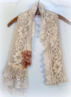Long lace scarf ROMANCE tea stained roses vintage lace by tamilyn, $47.00