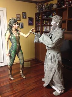 A fantastic couples theme costume with Medusa and the statue