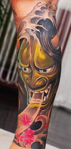 Japanese Mask Tattoo by Valio Ska - http://worldtattoosgallery.com/japanese-mask-tattoo-by-valio-ska/