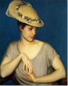 ▴ Artistic Accessories ▴ clothes, jewelry, hats in art - William McGregor Paxton | The Leghorn Hat, 1915