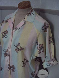 Vintage 80s Deadstock Pastel Teddy Bear Blouse by nanapatproject, $18.00