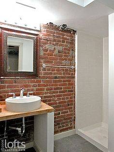 butcher block with vessel Luxury Loft, Residential, Boston Loft, Loft, Lofts For Rent, Exposed Brick Walls, Brick Bathroom, Rental, Bathroom Inspiration