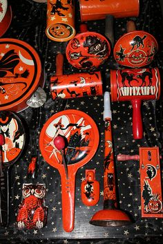 Beautifully detailed antique Halloween noise makers.