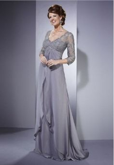 Chiffon and Lace V-Neck Empire A-Line Long Mother Of The Bride Dress - Mother of the bride - WHITEAZALEA.com