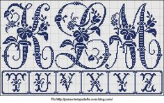Free Easy Cross, Pattern Maker, PCStitch Charts + Free Historic Old Pattern Books: Sajou No 604 Cross Stitch Letters, Cross Stitch Boards, Embroidery Alphabet, Embroidery Monogram, Easy Cross, Simple Cross Stitch, Cross Stitching, Cross Stitch Embroidery, Pattern Books