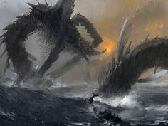 Sea monster by Lingy Video Game Artist, Monster Concept Art, Dragon Rider, Mythological Creatures, African Masks, Sea Monsters, Watercolor Sketch, Electronic Art, Comic Books Art