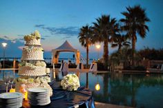 An evening wedding at Portofino Island Resort in Pensacola Beach