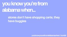 I totally call them buggies,and I lived in Alabama for 6 years! Hahaha