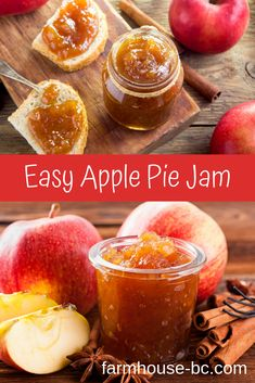 Ingredients for apple pie jam. Tools needed for making jam. How to store jam. Apples to use for making jam. Apple Pie Jelly, Apple Pie Jam, Fuji Apple Pie Recipe, Homemade Apple Pies, Jelly Recipes, Apple Recipes, Easy Jam Recipes, Home Canning Recipes, Canning Recipes