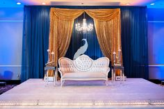 Art Deco inspired stage #sarahkhaneventstyling #skes #blue #gold #weddingstage #reception #pakistaniwedding #indianwedding #bengaliwedding #dcwedding #vawedding #mdwedding