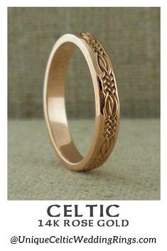 Narrow Celtic Wedding Ring in 14K Rose Gold — Unique Celtic Wedding Rings Celtic Rings, Celtic Wedding Rings, Wedding Rings Rose Gold, Celtic Knot, Celtic Designs, Ring Designs, Wedding Decorations, Rings For Men, Engagement Rings