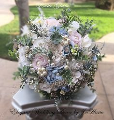 RUSTIC WEDDING Brides Brooch Bouquet by Elegantweddingdecor