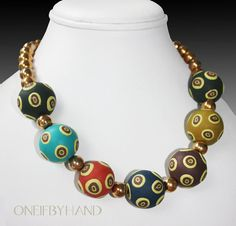 Multi-Color Big Polymer Clay Bead  & Brass Necklace by oneifbyhand