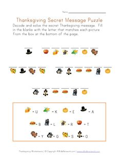 Thanksgiving Puzzle Worksheet - Decode the Thanksgiving Message