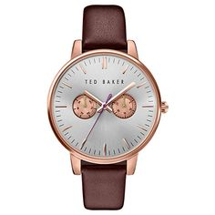 Ted Baker London Ted Baker London 'Dress Sport' Multifunction Leather Strap Watch, available at Ted Baker Womens, Ted Baker Dress, Ladies Of London, Leather Watch Bands, Stainless Steel Jewelry, Trendy Clothes For Women, How To Slim Down, Smooth Leather, Things To Sell