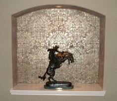 Our Fabric Damask stencil looks gorgeous in metallic paints in this niche finish - Google Search