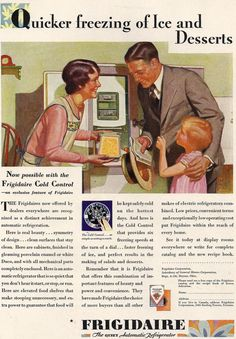 Frigidaire ad Family Admiring New Kitchen Appliance Print - Vintage 1929 - Great to Frame