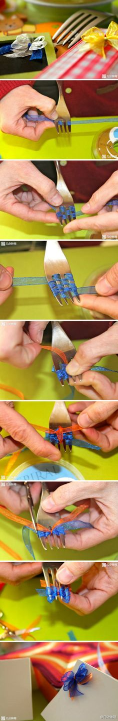 The best DIY projects & DIY ideas and tutorials: sewing, paper craft, DIY. Ideas About DIY Life Hacks & Crafts 2017 / 2018 How to make a tiny bow with a fork. Cute and easy. Glue the bows on letters, in Cute Crafts, Diy And Crafts, Arts And Crafts, Paper Crafts, Easy Crafts, Fork Crafts, Kids Crafts, Creative Crafts, Creative Ideas