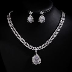 Fashion Gold Plated Fashion Top Quality Wedding Jewelry Sets, AAA CZ Water Drop Bridal Earrings Necklace Sets S025