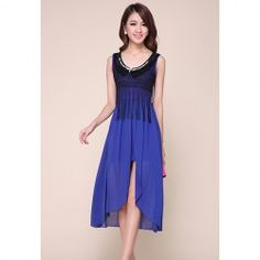 $14.73 Fashionable Sleeveless Tassels Front Cut Chiffon Maxi Dress For Women http://www.sammydress.com/product684992.html