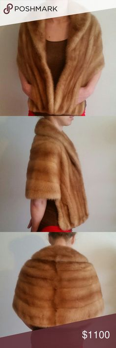 Rare Vintage mink stole with pockets 1950's vintage.  Profesionally stored. With pockets.  Real mutated mink lined with satin.  Dress it up or wear with jeans and boots Jackets & Coats Capes