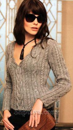 Women's Hand Knit V-neck Sweater – Hand Knitting Cable Knitting, Sweater Knitting Patterns, Knit Patterns, Hand Knitting, Knit Jacket, Knitwear, Knit Crochet, Sweaters For Women, Women's Sweaters