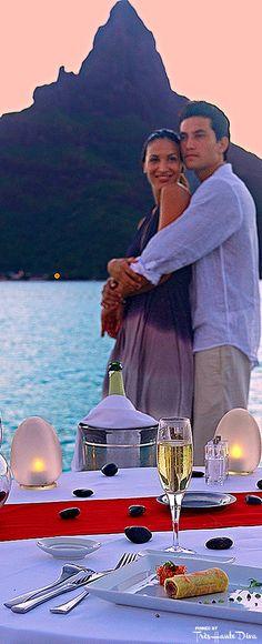 Romantic Dinner For Two — Très Haute Diva Honeymoon Getaways, Honeymoon Album, Travel Divas, Romantic Places, Romantic Times, Romantic Mood, Bora Bora Resorts, Romantic Dinner For Two, Summer Romance