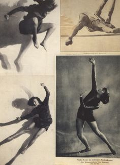 """From Hannah Höch's Album page (scrapbook), left: Dancer Gret Palucca, ca. ph, by Charlotte Rudolph. right: """"Stabhochsprung"""" Athete high jumping (pole vault) and """"Starke Geste im modernen. Contemporary Dance, Modern Dance, Hannah Höch, Alphonse Mucha, Dance Photos, Dance Photography, White Photography, Photomontage, Figure Drawing"""
