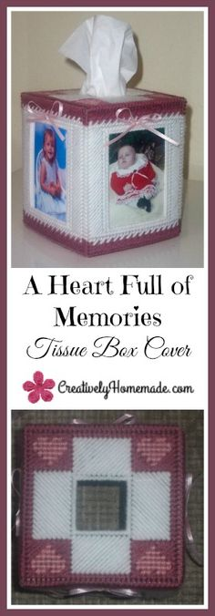 This A Heart Full of Memories plastic canvas tissue cover pattern is easy to stitch and would make a great gift! Learn how to make it here!