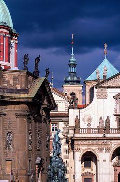 Looking from the Charles Bridge to Stare Mesto, Prague, Czech Republic | Blaine Harrington Photography