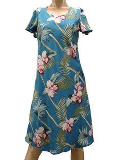 d312ed4d8c Paradise Found Orchid Bamboo Blue Rayon Hawaiian A-Line with sleeves Short  Dress Luau Dress