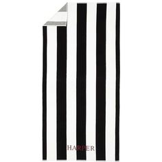Pottery Barn Reversible Awning Stripe Beach Towel - Black ($39) ❤ liked on Polyvore