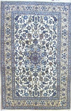 Beautiful persian silk rug in blue