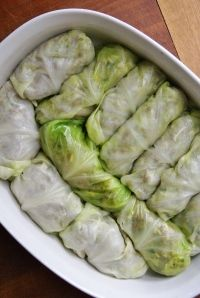 Savory stuffed cabbage rolls. Recipe states that the ground beef can be omitted.