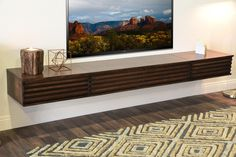 Shop for Floating TV Stands & Wall Mount Entertainment Center Consoles at Woodwaves. Media Shelf, Tv Shelf, Shelves, Living Room Tv, Living Spaces, Wall Mount Entertainment Center, Hanging Tv, Floating Tv Stand, Lotus