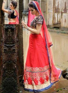 Red Embroidery Work Net Viscose Georgette Designer Wedding Lehenga Choli http://www.angelnx.com/Lehenga-Choli/Wedding-Lehenga-Choli